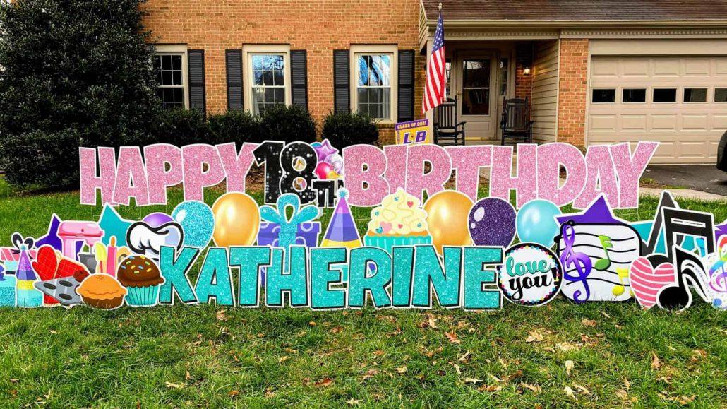 Custom Happy Birthday Lawn Sign Long Island NY 11701